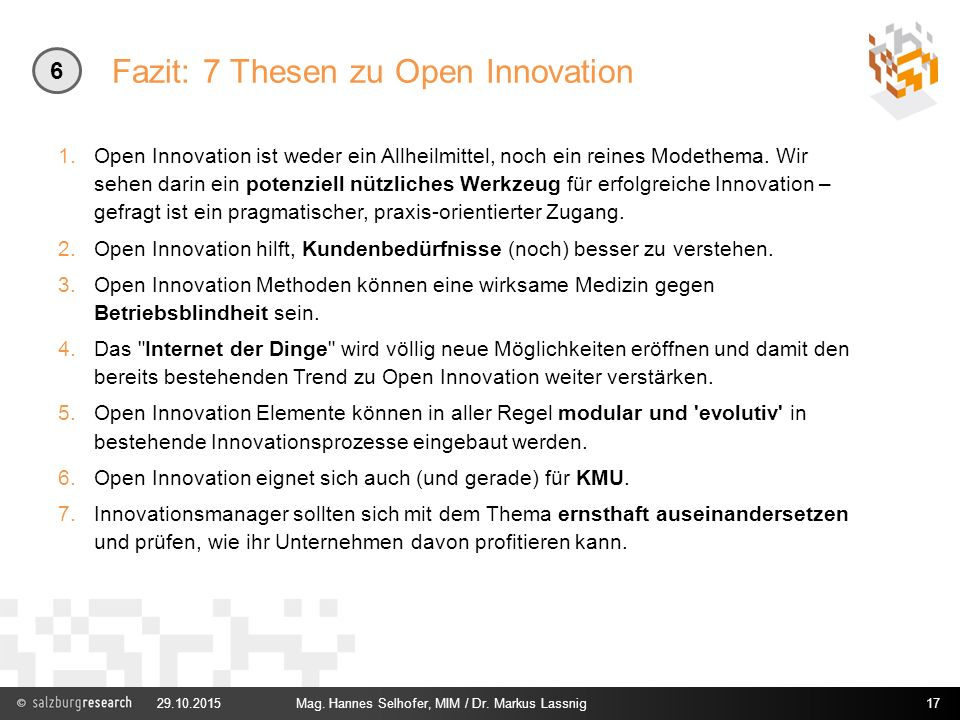 Fazit: 7 Thesen zu Open Innovation