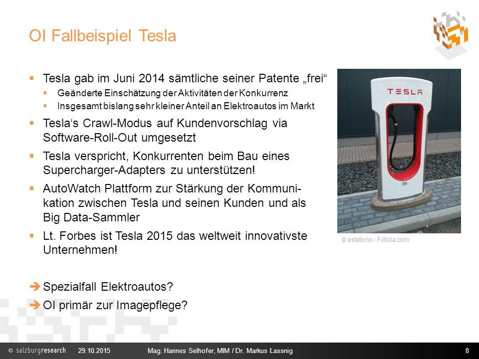 """OI Fallbeispiel Tesla Tesla gab im Juni 2014 sämtliche seiner Patente """"frei Geänderte Einschätzung der Aktivitäten der Konkurrenz."""