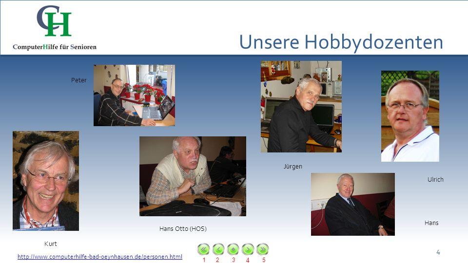 Unsere Hobbydozenten Peter Jürgen Ulrich Hans Hans Otto (HOS) Kurt