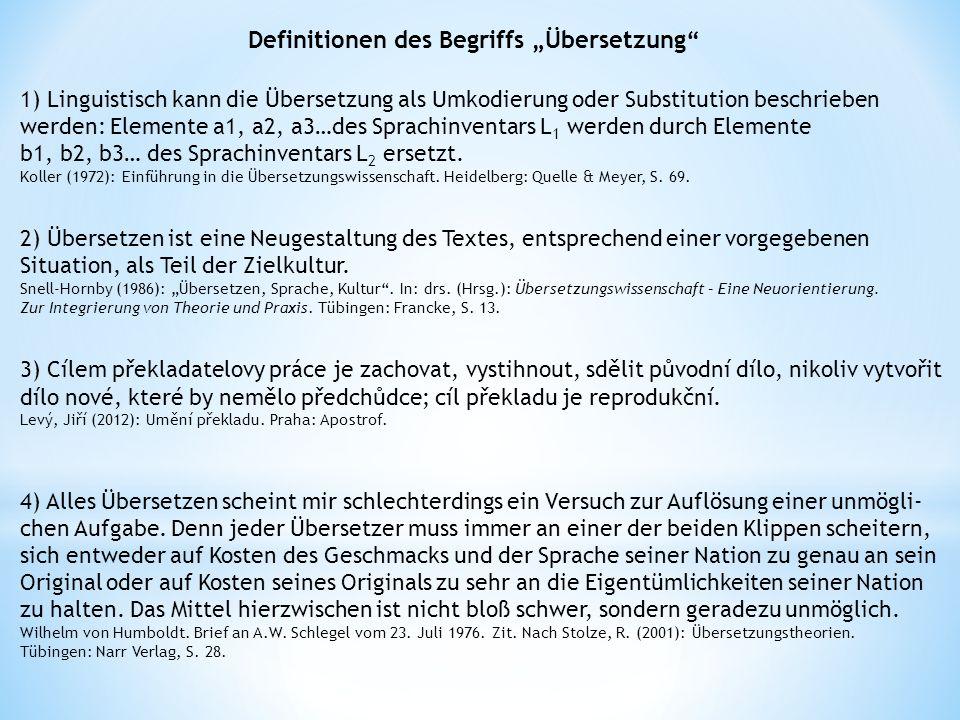 """Definitionen des Begriffs """"Übersetzung"""