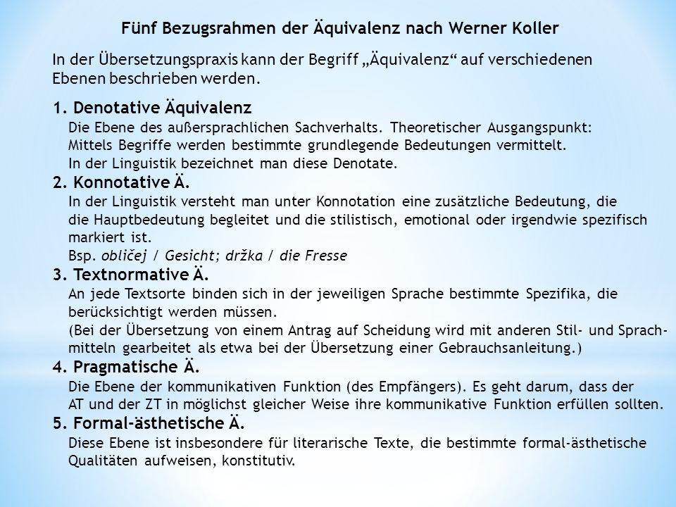 Fünf Bezugsrahmen der Äquivalenz nach Werner Koller