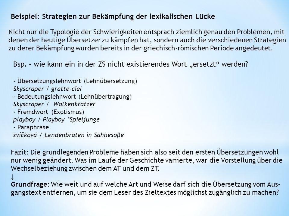 Beispiel: Strategien zur Bekämpfung der lexikalischen Lücke
