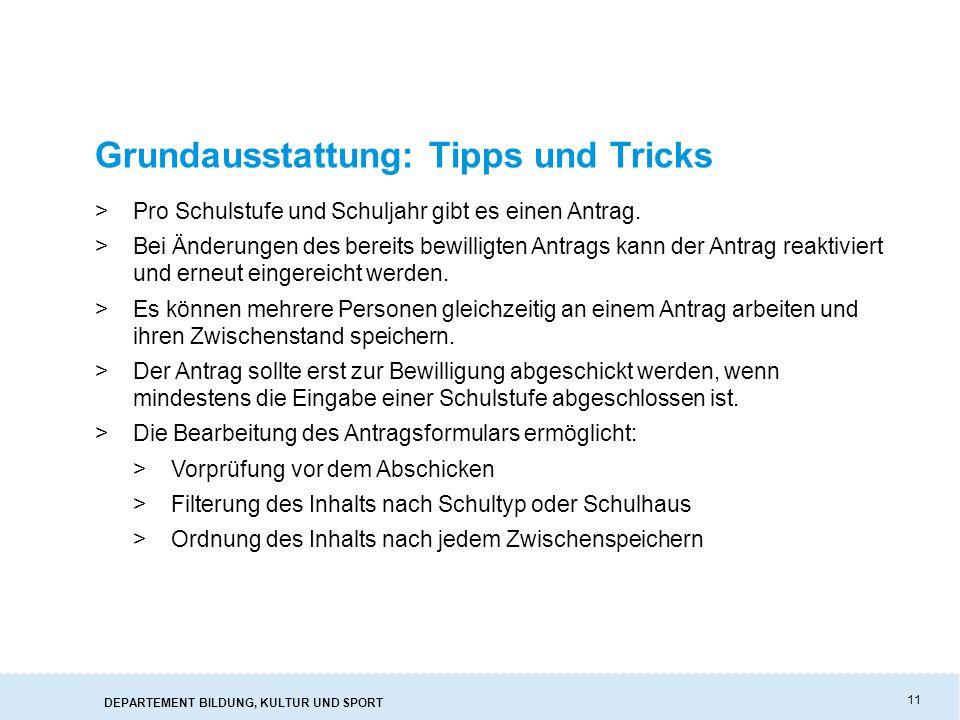 Grundausstattung: Tipps und Tricks
