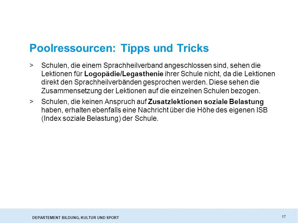 Poolressourcen: Tipps und Tricks