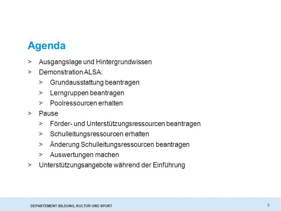 Agenda Ausgangslage und Hintergrundwissen Demonstration ALSA: