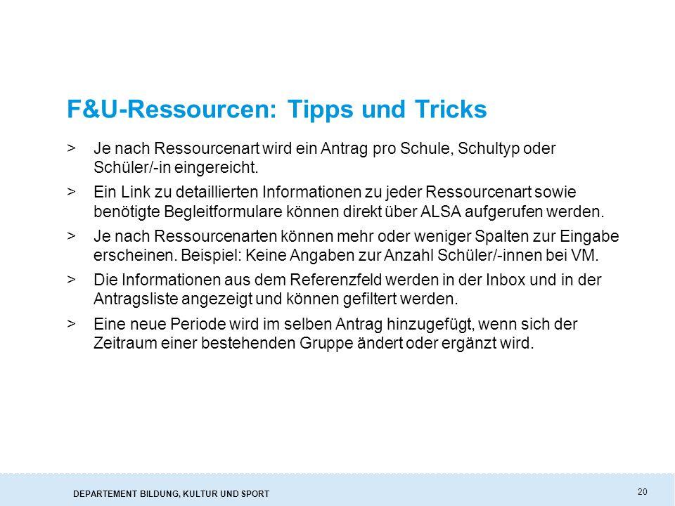 F&U-Ressourcen: Tipps und Tricks
