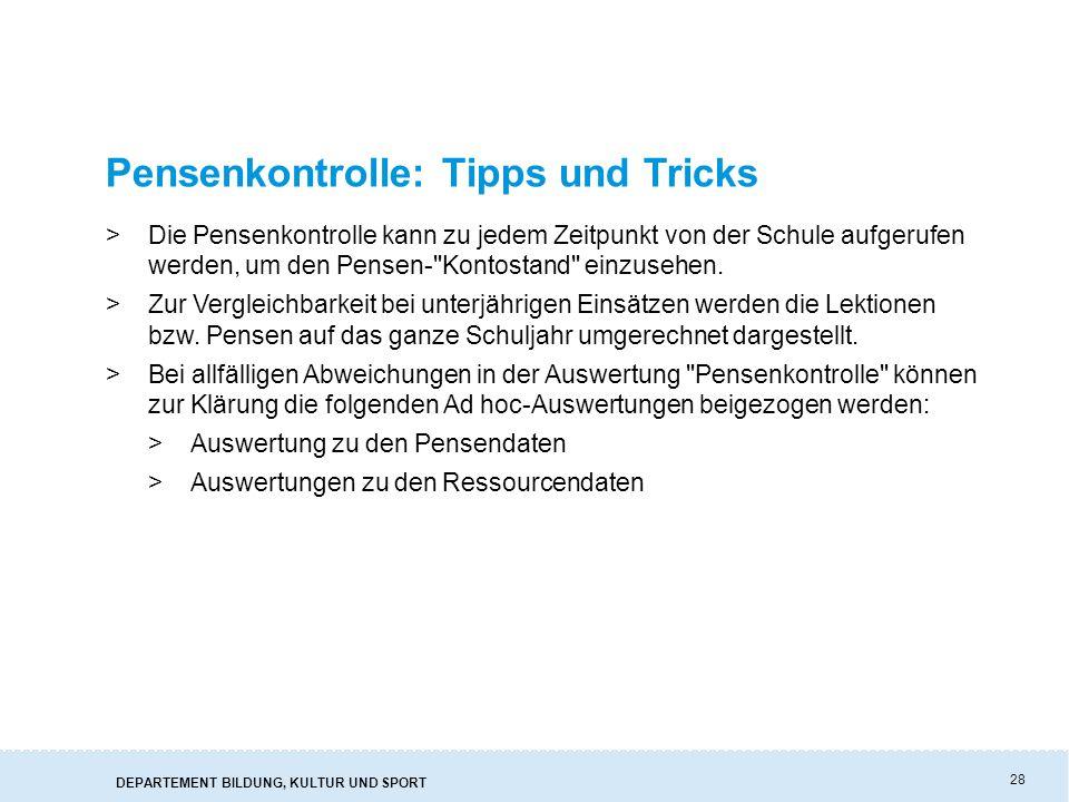 Pensenkontrolle: Tipps und Tricks