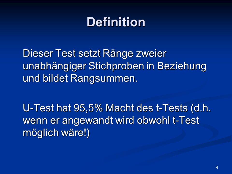 DefinitionDieser Test setzt Ränge zweier unabhängiger Stichproben in Beziehung und bildet Rangsummen.