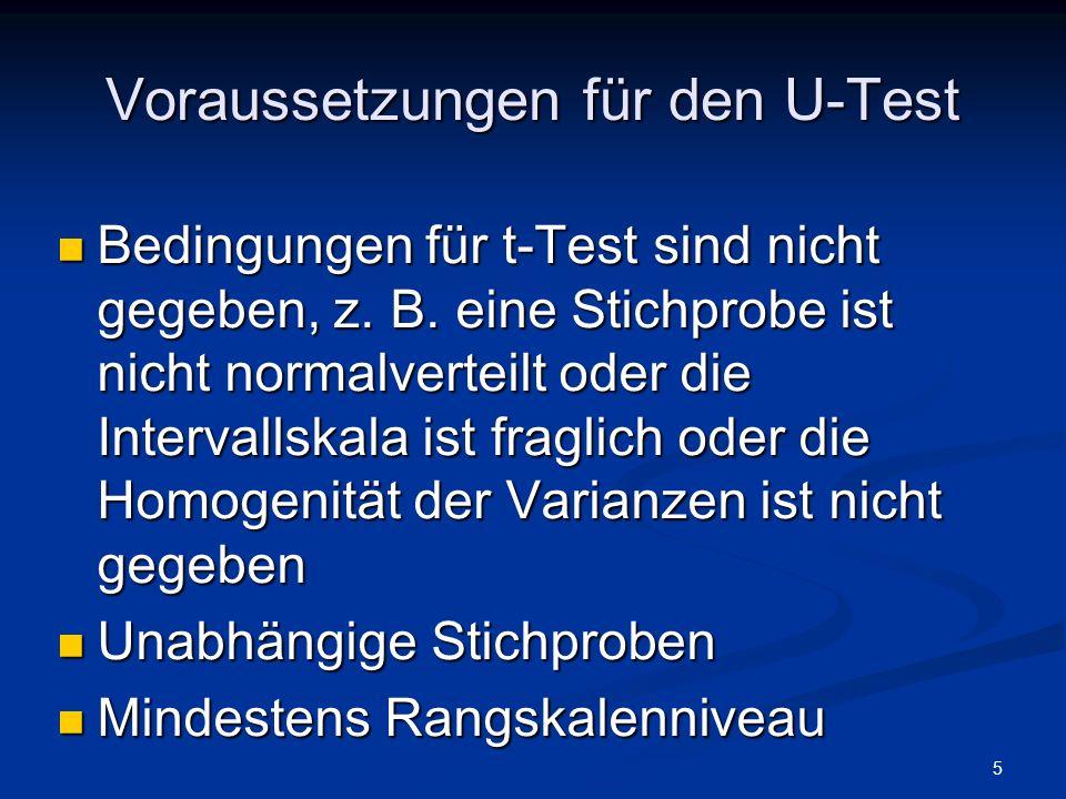 Voraussetzungen für den U-Test