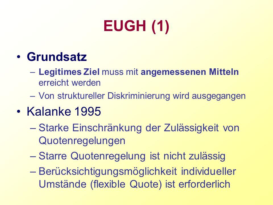 EUGH (1) Grundsatz Kalanke 1995