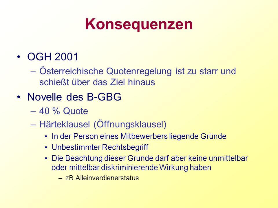 Konsequenzen OGH 2001 Novelle des B-GBG