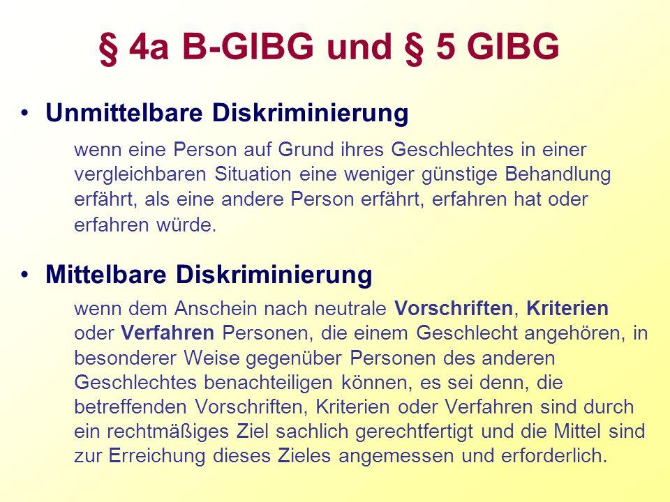 § 4a B-GlBG und § 5 GlBG Unmittelbare Diskriminierung