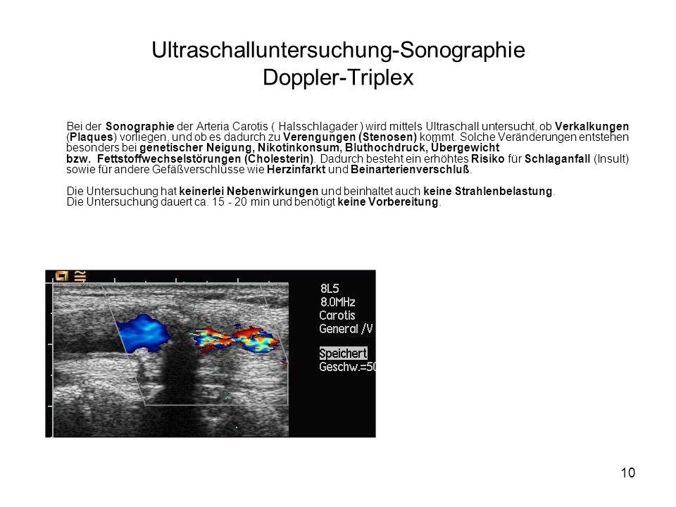 Ultraschalluntersuchung-Sonographie Doppler-Triplex