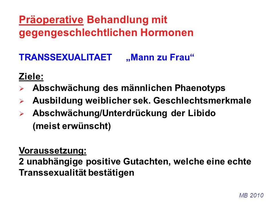 Präoperative Behandlung mit gegengeschlechtlichen Hormonen