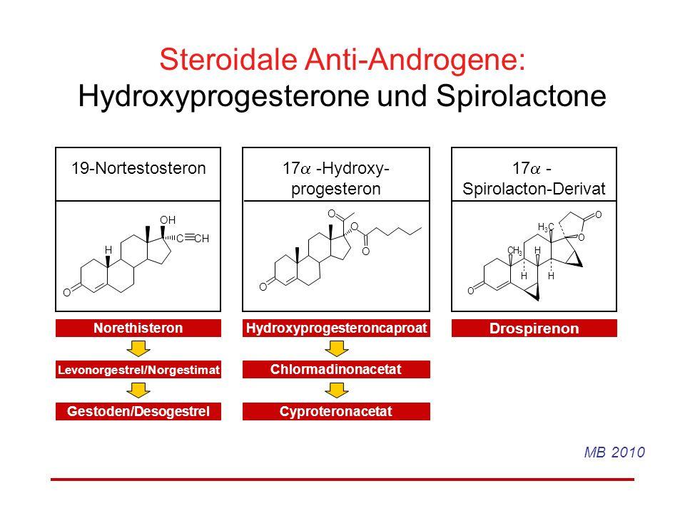 Steroidale Anti-Androgene: Hydroxyprogesterone und Spirolactone
