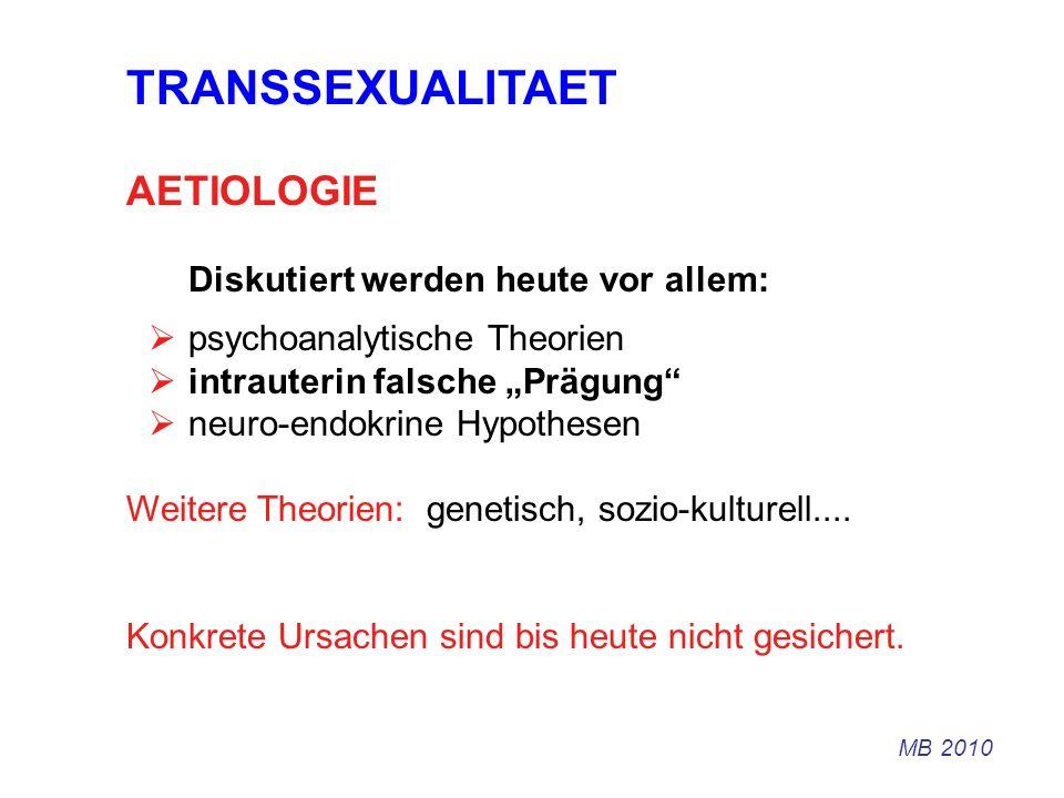 TRANSSEXUALITAET AETIOLOGIE Diskutiert werden heute vor allem: