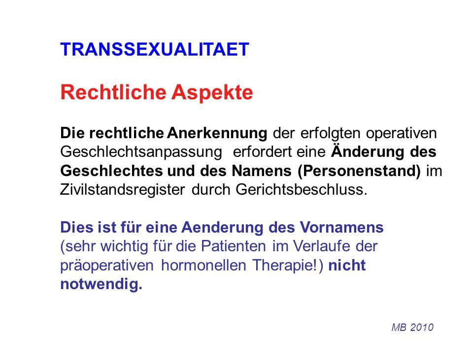 Rechtliche Aspekte TRANSSEXUALITAET