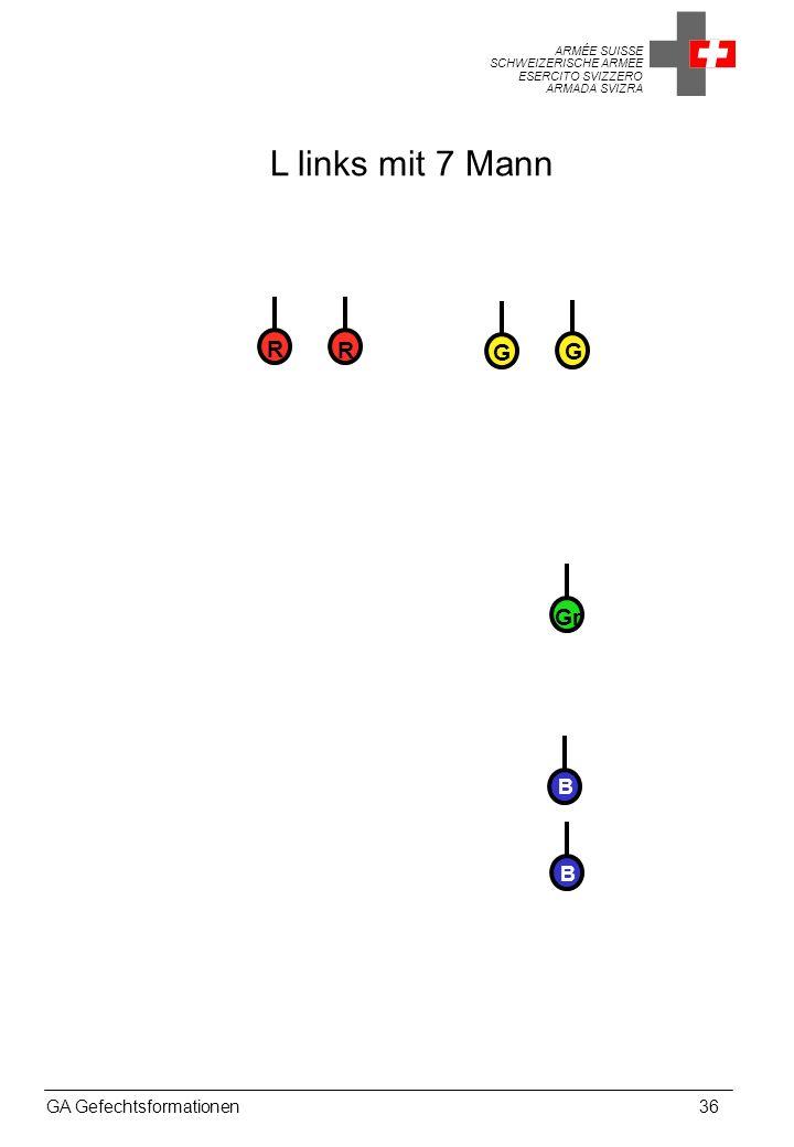 L links mit 7 Mann R R G G Gr B B GA Gefechtsformationen 36