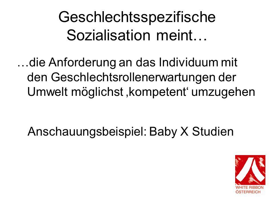 Geschlechtsspezifische Sozialisation meint…