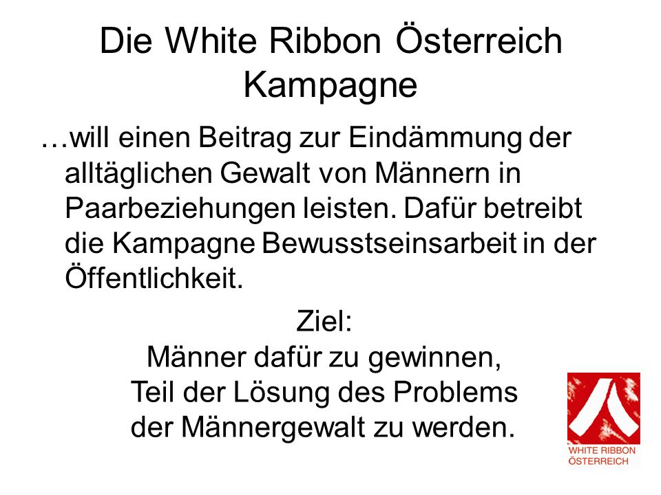 Die White Ribbon Österreich Kampagne