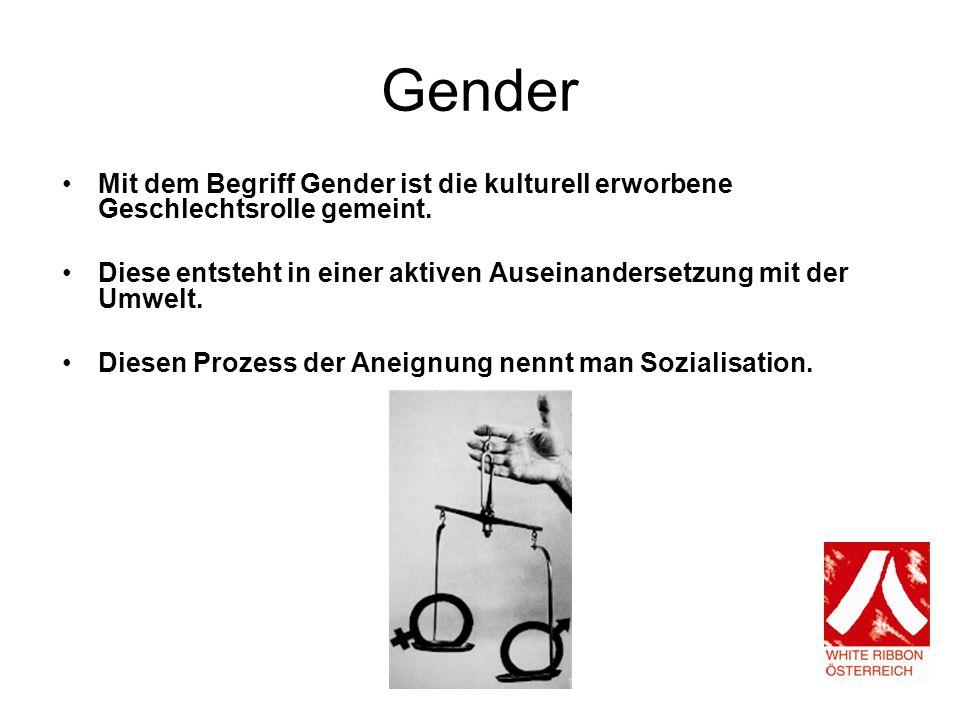 Gender Mit dem Begriff Gender ist die kulturell erworbene Geschlechtsrolle gemeint.