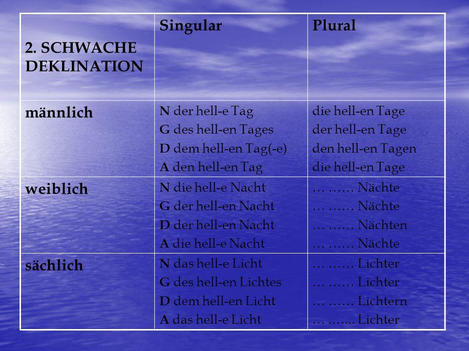 2. SCHWACHE DEKLINATION Singular Plural männlich weiblich sächlich