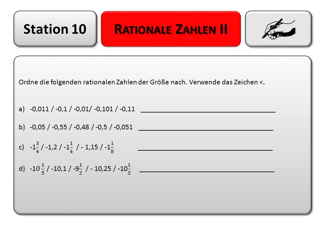 Station 10 Rationale Zahlen II