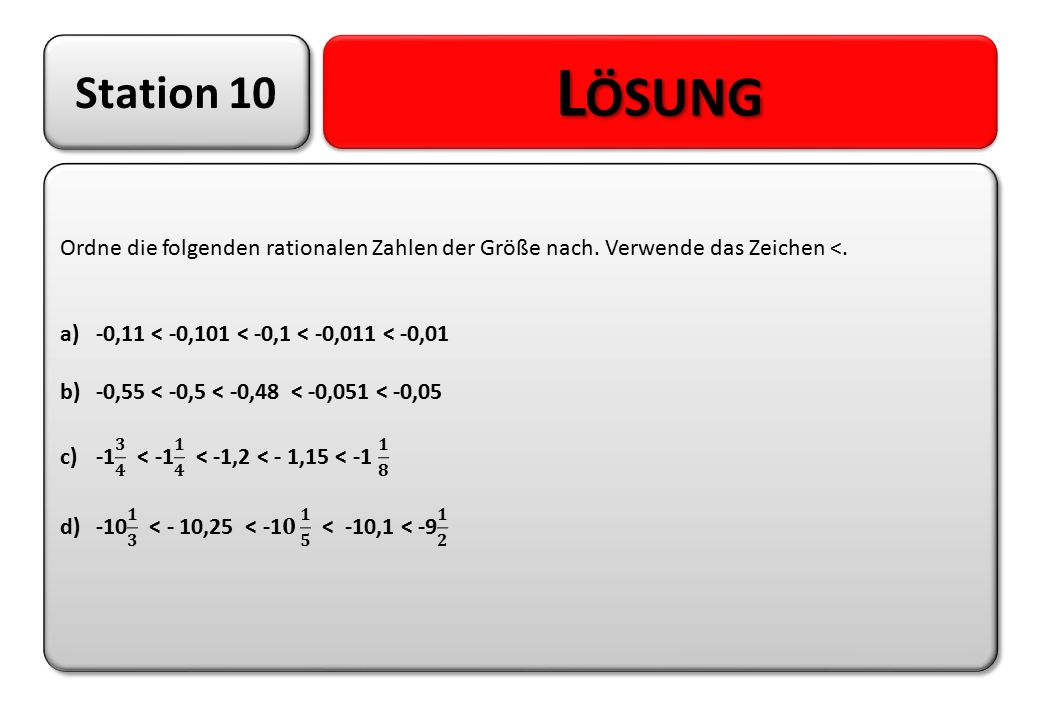Station 10 Lösung. Ordne die folgenden rationalen Zahlen der Größe nach. Verwende das Zeichen <. -0,11 < -0,101 < -0,1 < -0,011 < -0,01.