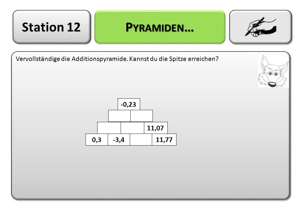 Station 12 Pyramiden… Vervollständige die Additionspyramide. Kannst du die Spitze erreichen -0,23.