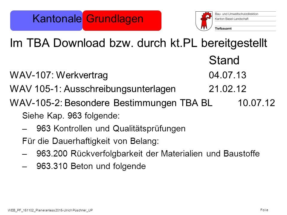Im TBA Download bzw. durch kt.PL bereitgestellt Stand