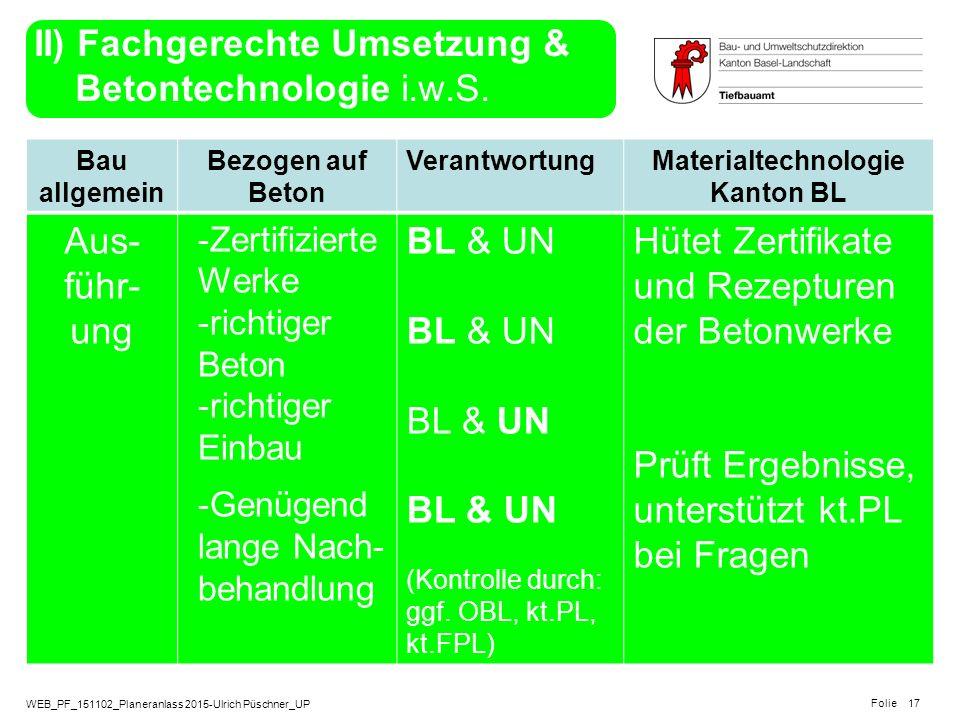 II) Fachgerechte Umsetzung & Betontechnologie i.w.S.