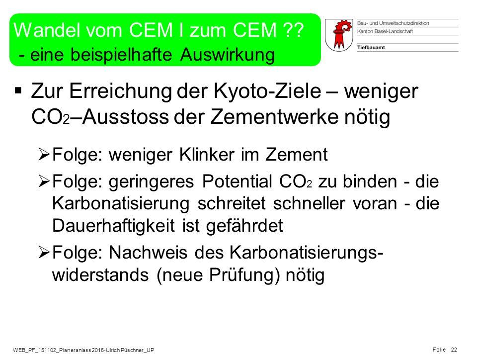 Wandel vom CEM I zum CEM - eine beispielhafte Auswirkung