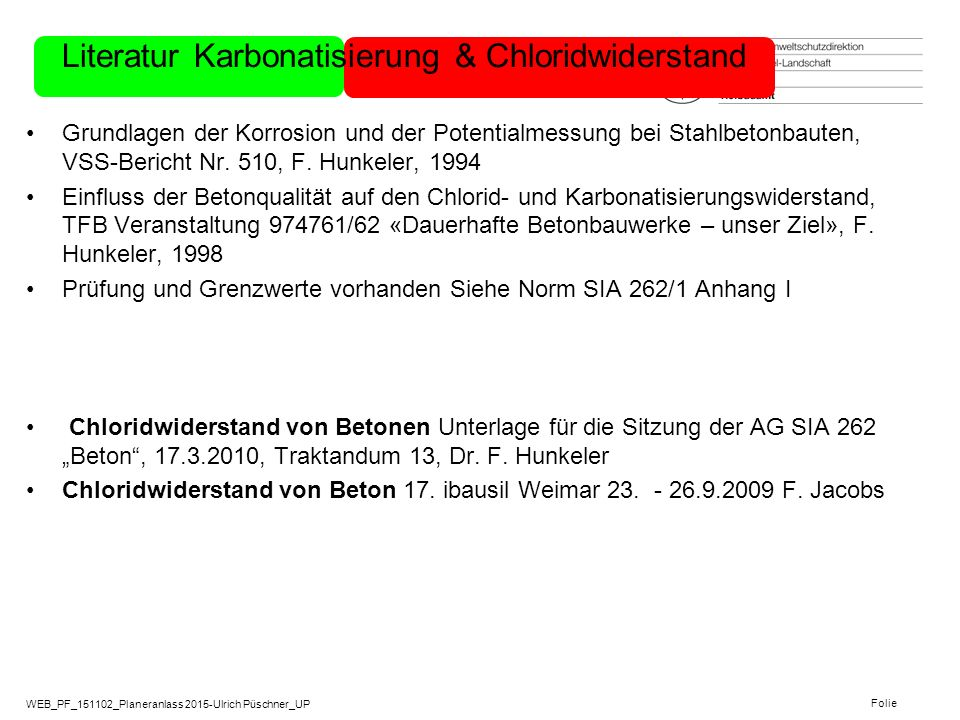 Literatur Karbonatisierung & Chloridwiderstand