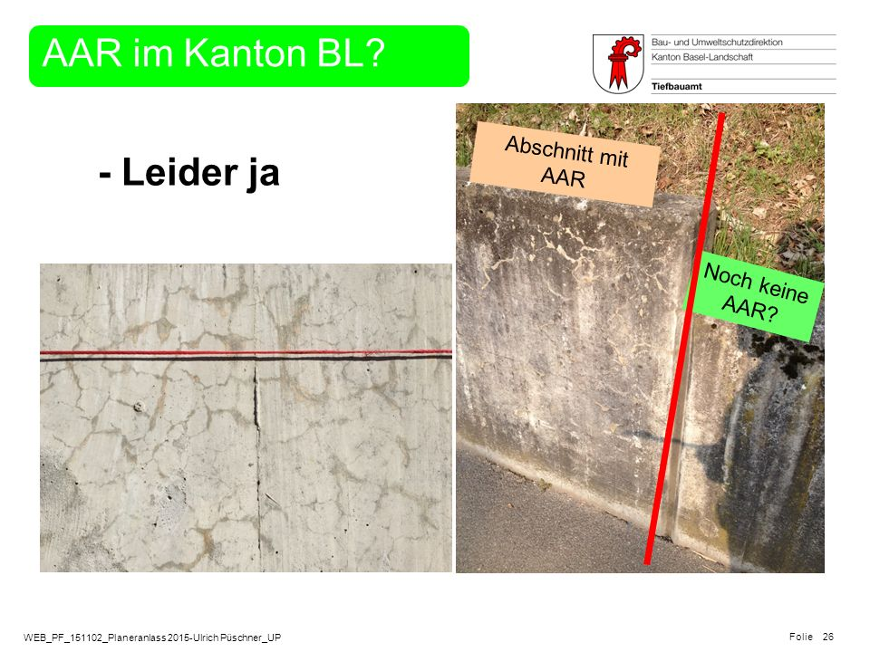 AAR im Kanton BL Noch keine AAR Abschnitt mit AAR - Leider ja