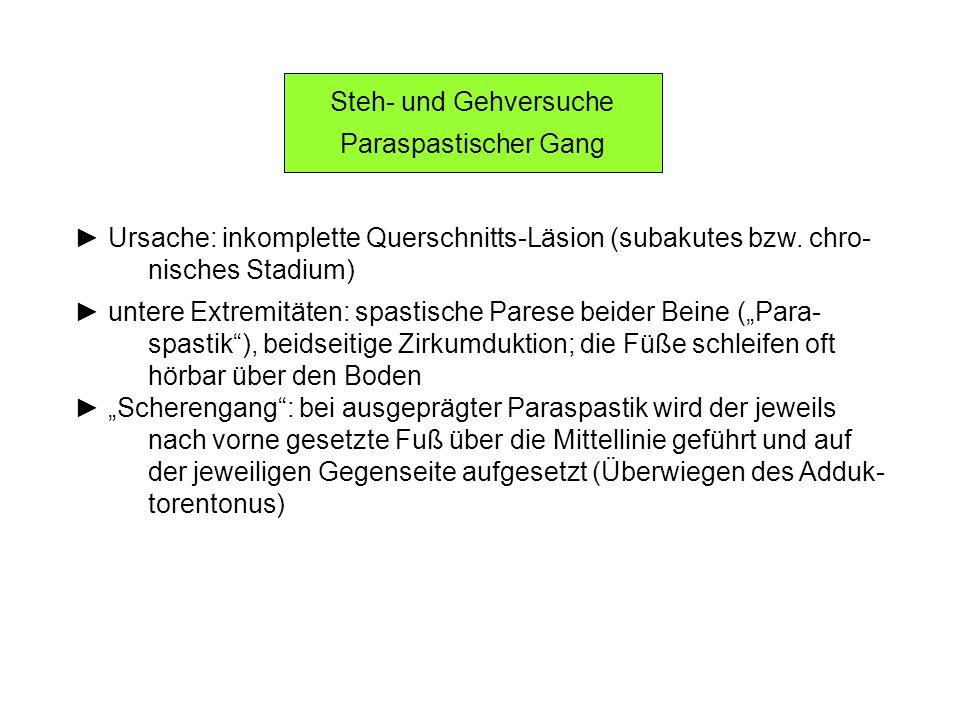 Steh- und Gehversuche Paraspastischer Gang. ► Ursache: inkomplette Querschnitts-Läsion (subakutes bzw. chro-