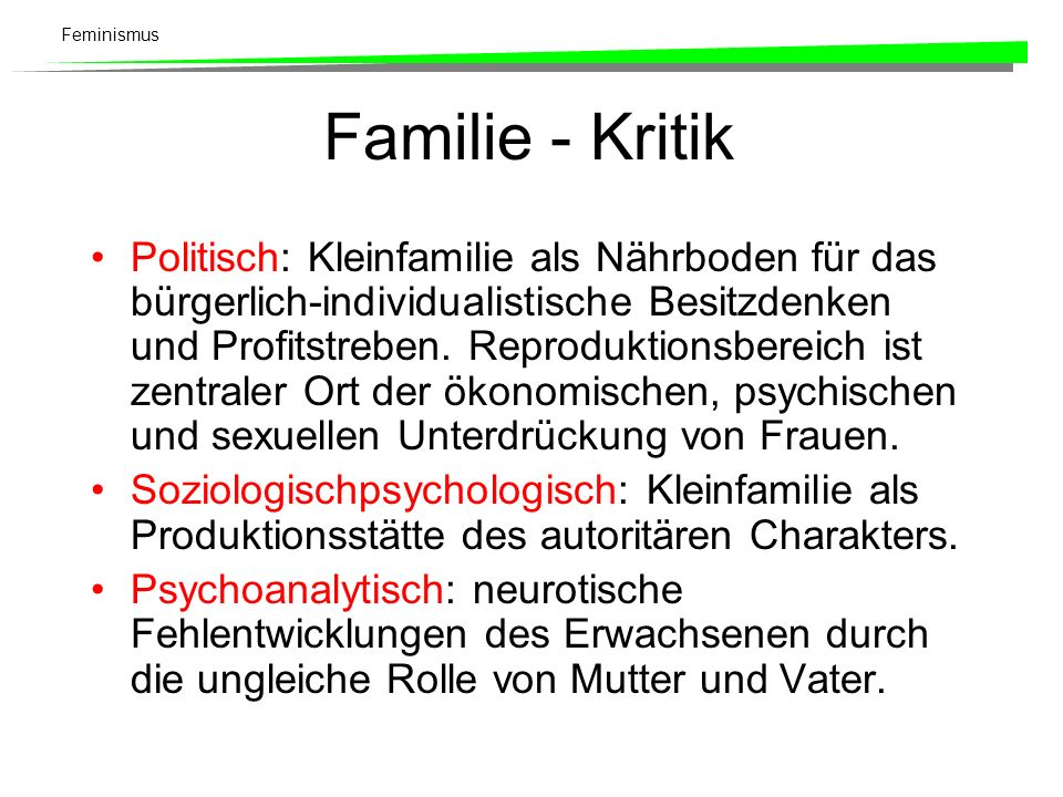 Familie - Kritik