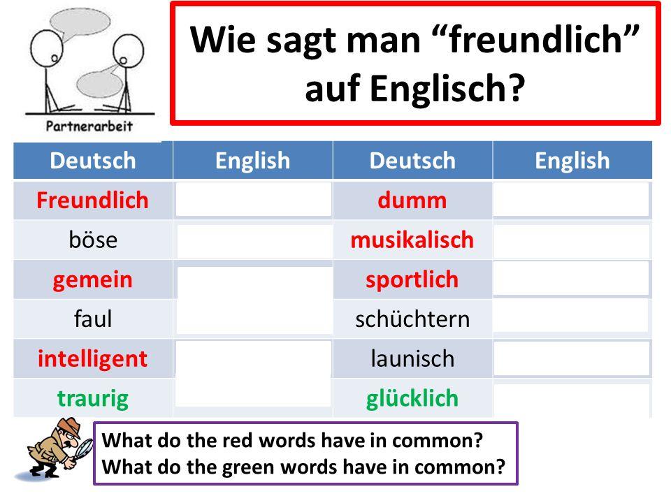 Wie sagt man freundlich auf Englisch