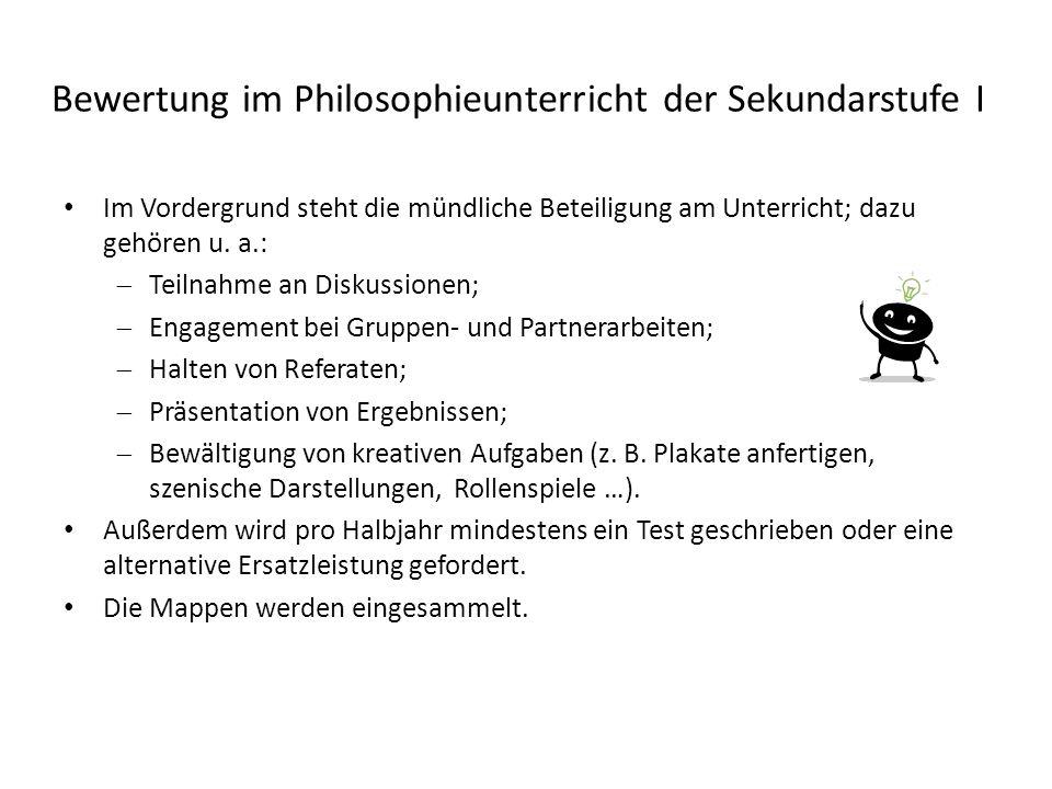 Bewertung im Philosophieunterricht der Sekundarstufe I