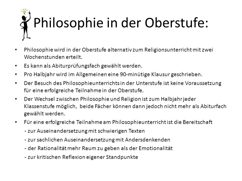 Philosophie in der Oberstufe:
