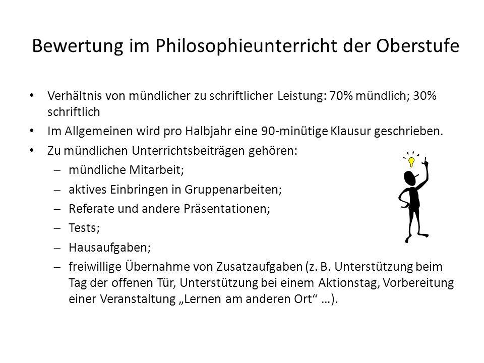 Bewertung im Philosophieunterricht der Oberstufe