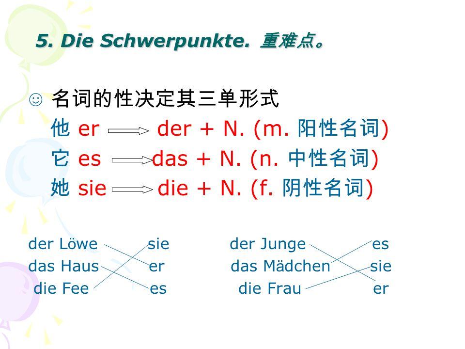 5. Die Schwerpunkte. 重难点。 ☺ 名词的性决定其三单形式 他 er der + N. (m. 阳性名词)