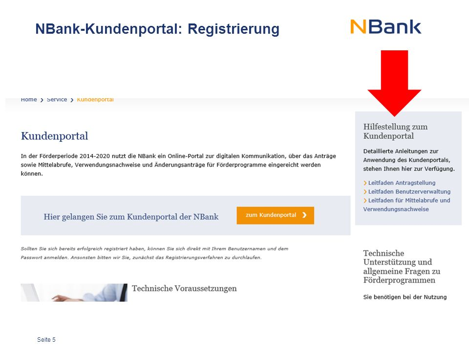 NBank-Kundenportal: Registrierung