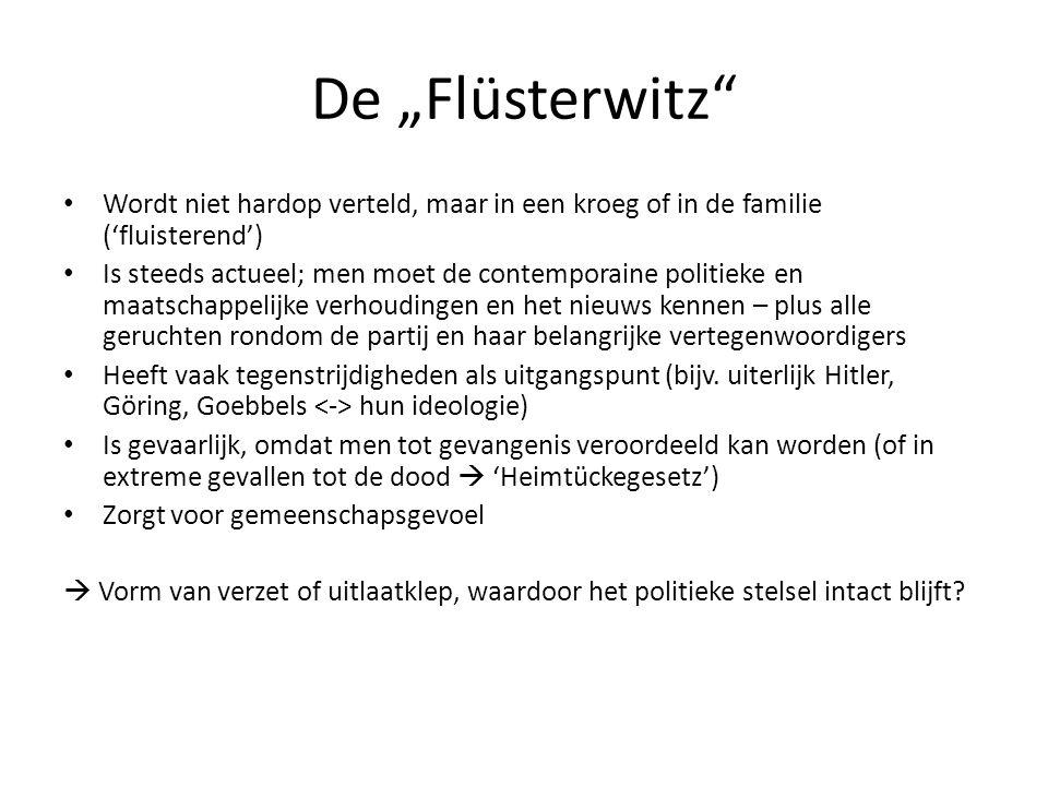 """De """"Flüsterwitz Wordt niet hardop verteld, maar in een kroeg of in de familie ('fluisterend')"""