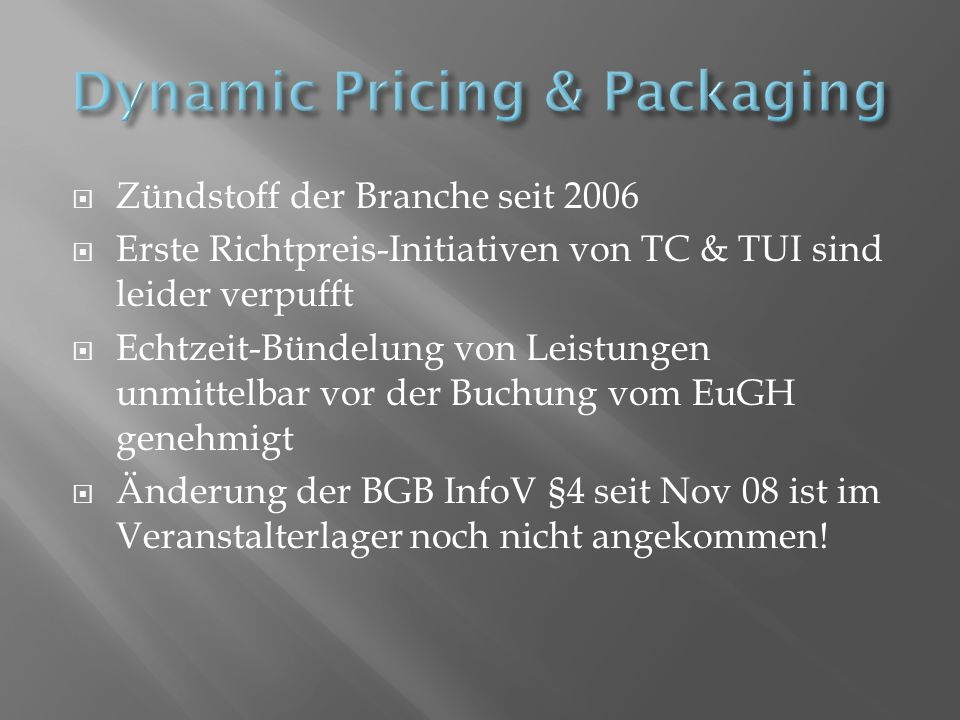 Dynamic Pricing & Packaging