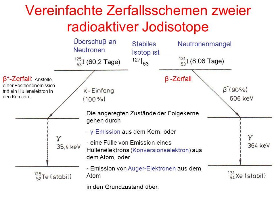 Vereinfachte Zerfallsschemen zweier radioaktiver Jodisotope