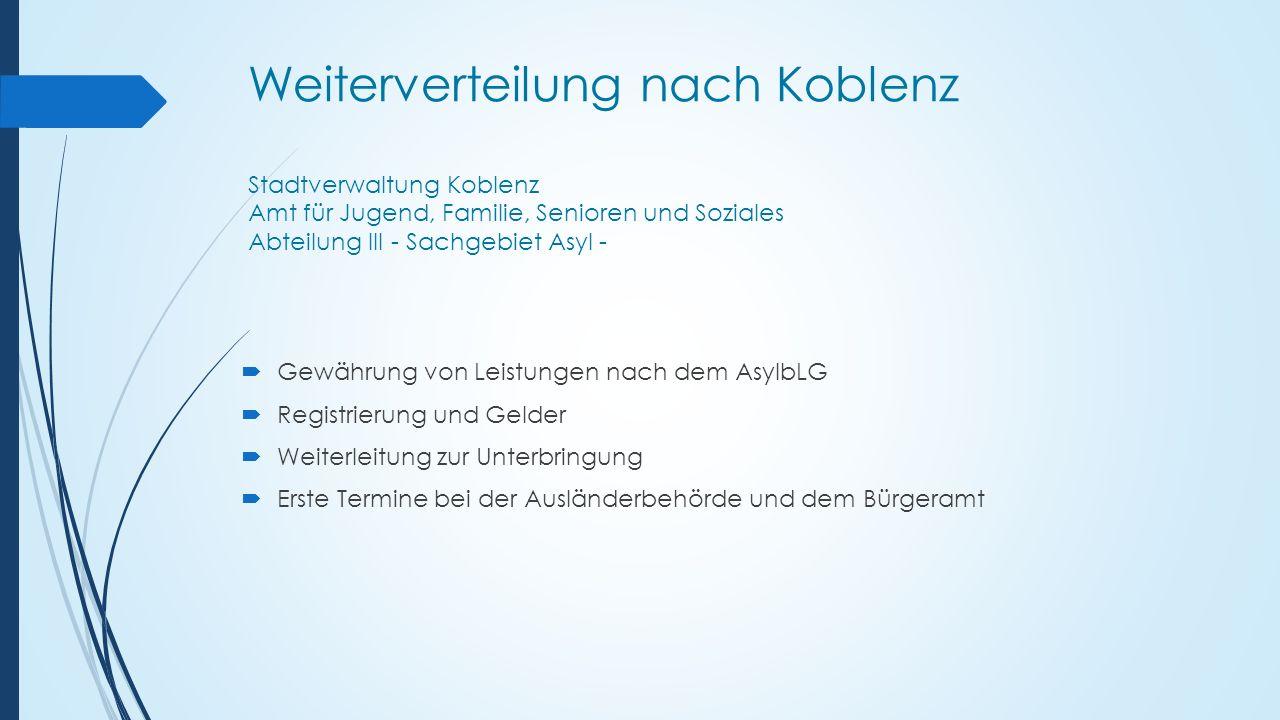 Weiterverteilung nach Koblenz Stadtverwaltung Koblenz Amt für Jugend, Familie, Senioren und Soziales Abteilung III - Sachgebiet Asyl -