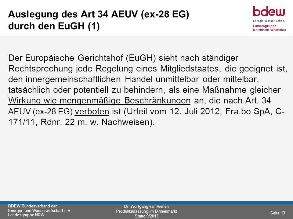 Auslegung des Art 34 AEUV (ex-28 EG) durch den EuGH (1)