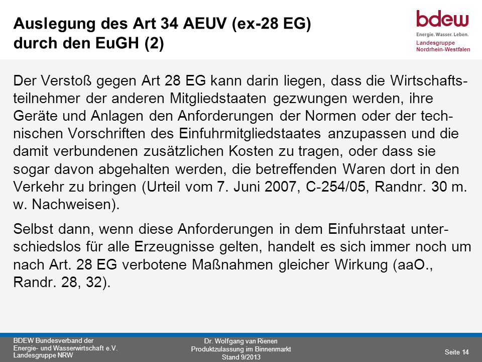 Auslegung des Art 34 AEUV (ex-28 EG) durch den EuGH (2)