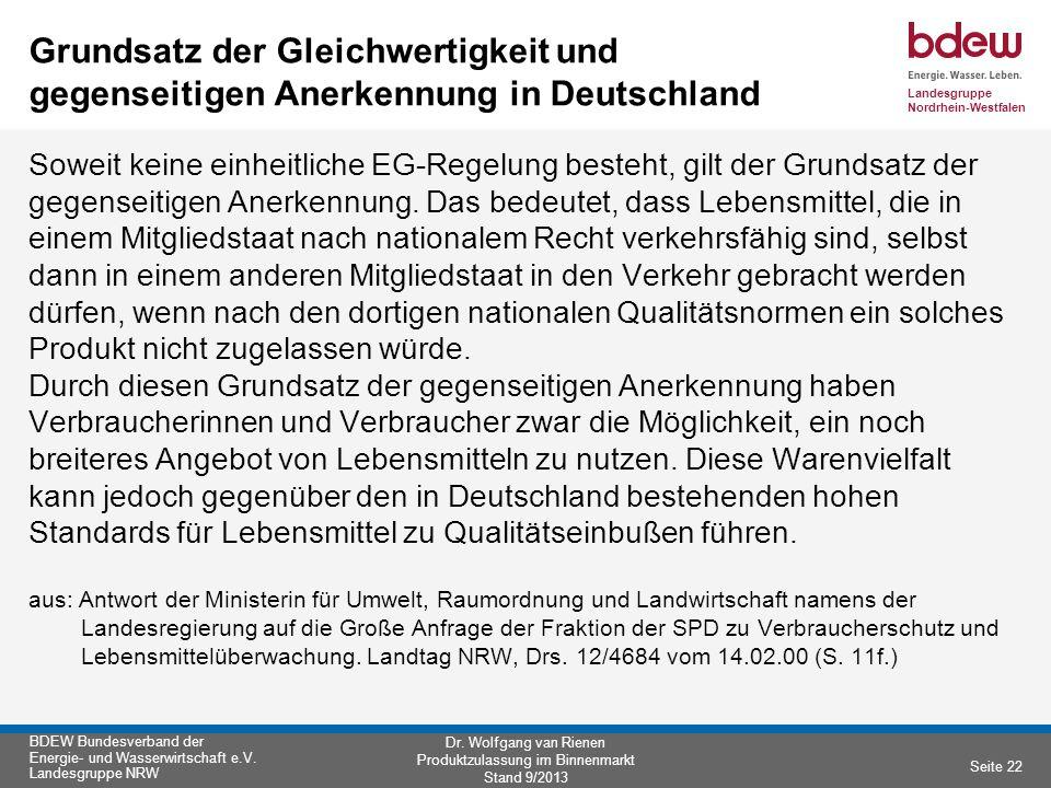 Grundsatz der Gleichwertigkeit und gegenseitigen Anerkennung in Deutschland