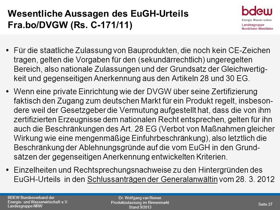 Wesentliche Aussagen des EuGH-Urteils Fra.bo/DVGW (Rs. C-171/11)